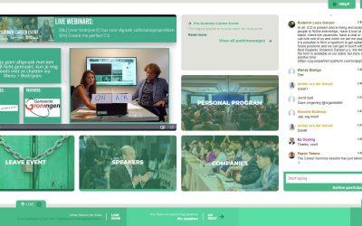 Beeld van de centrale pagina van het online evenement
